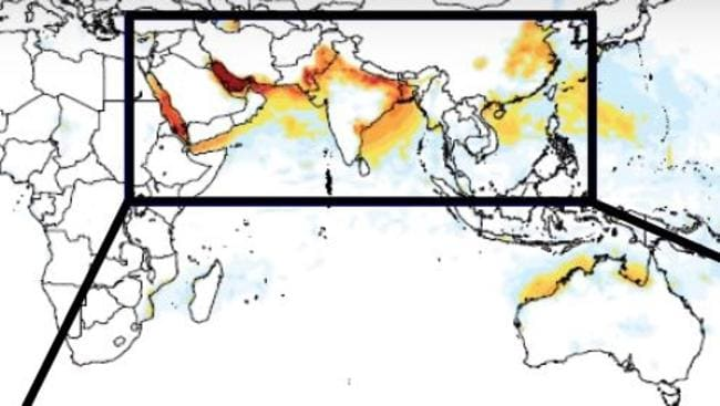 Northern Australia is already in a stifling heat zone stretching across Asia. Picture: MIT.