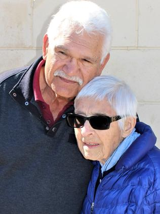 Central District Football Club great Sonny Morey with Sister Megali in Alice Springs. Picture: Robert Laidlaw