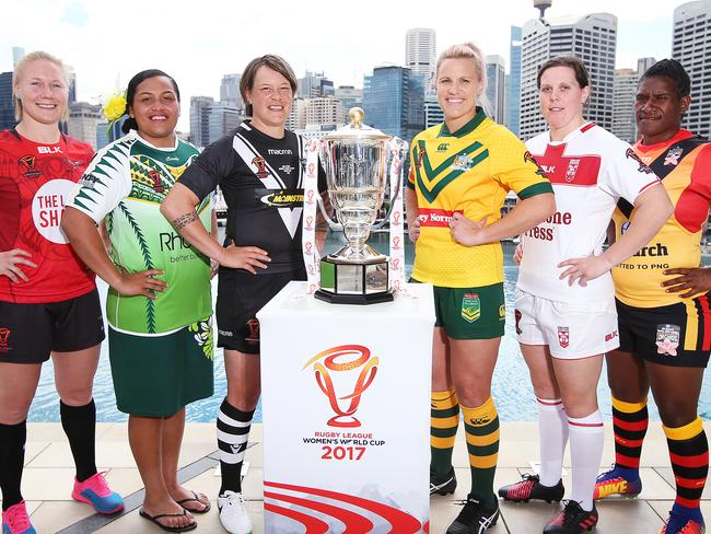 Women's Rugby League World Cup captains assembled yesterday to launch the competition. Picture: Sam Ruttyn