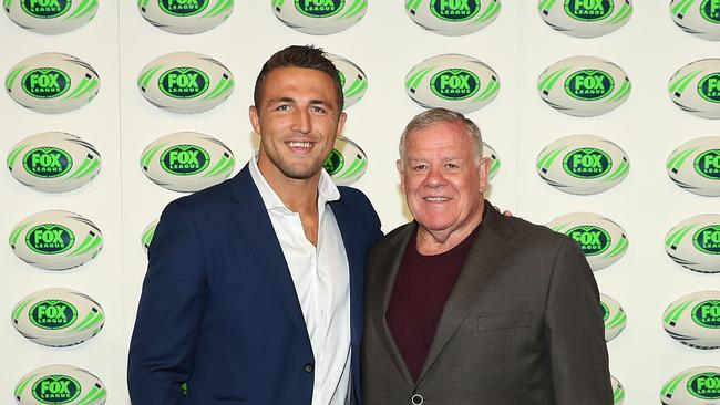 Sam Burgess with Bob McCarthy during the 2018 Fox League Launch at Walsh Bay, Sydney. Picture: Brett Costello