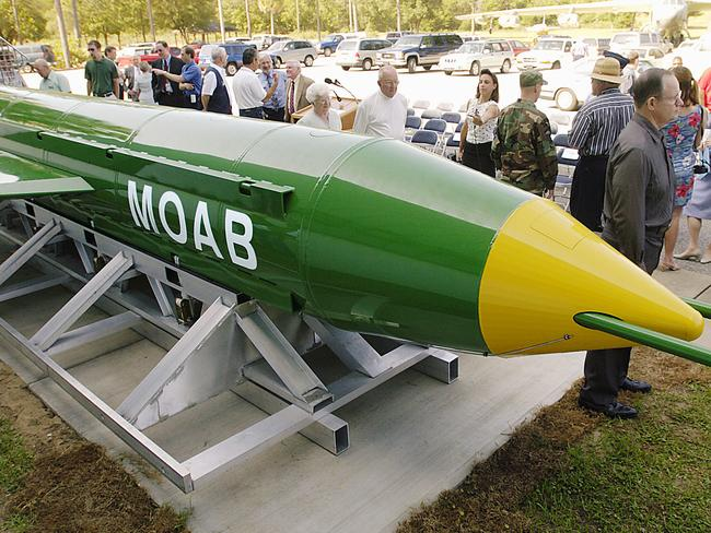 A GBU-43B on display at the air force Armament Museum on Eglin air force Base in the US in 2004. Picture: Mark Kulaw/Northwest Florida Daily News via AP