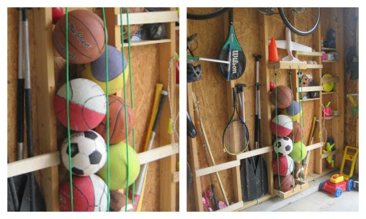 BALL TOWER - If you've got a sporty child, you'll know all about the basketballs and soccer balls lying around the home and backyard. ANN.OY.ING! To stop your stress levels reaching peak, try investing in some octopus straps and make a tower to secure the balls. It takes up little space and all your sports balls can be found in one place. What's not to love about that?! Image: Classy Clutter / Via Pinterest