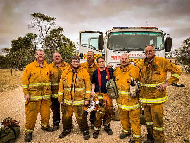 Taken at 8am on Thursday morning after the Morphett Vale CFS crew had spent the night fighting the Yorketown fire, pictured is Adam Sargent, Liam Brown, Ashley Baker, Dave Sierat, Angus Jefferys, Dave Dyer and Ben Gebethner.
