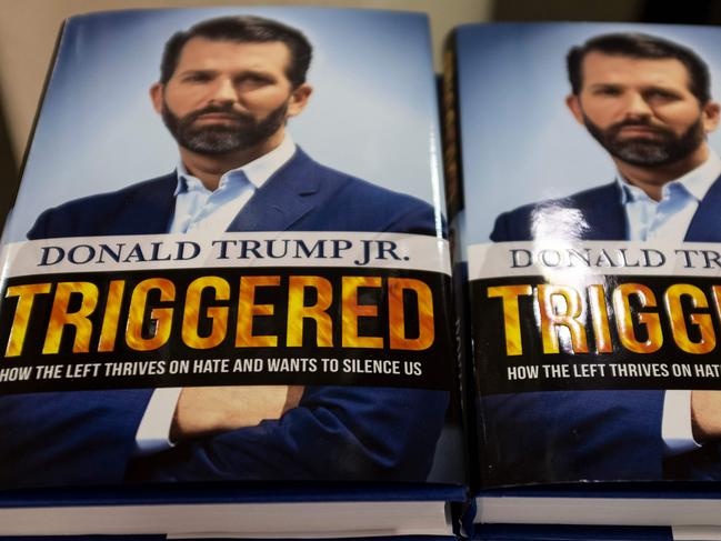 The book Triggered: How the Left Thrives on Hate and Wants to Silence US, by Donald Trump Jr. Picture: AFP