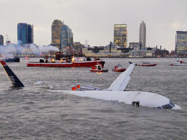 The US Airways plane that crashed into the Hudson River in New York.