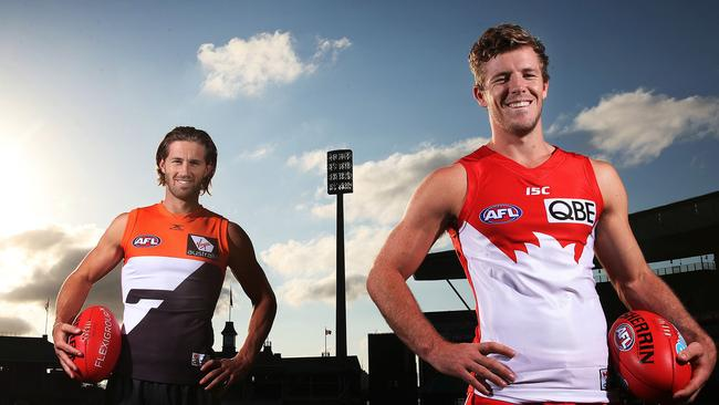 GWS Giants co-captain Callan Ward and Sydneys vice-captain Luke Parker ahead of Saturday night's derby. Picture. Phil Hillyard