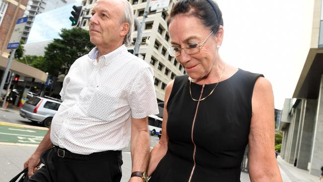 Theresa Dalton is seen leaving the Supreme Court in Brisbane earlier this year. She was jailed today for ordering a hit on her ex-husband Malcolm Stewart in 2010. Picture: AAP Image/Dan Peled.