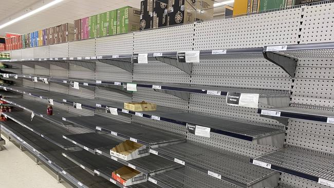 Supermarket shelves across Australia were stripped bare by panic buyers in recent weeks. Picture: AAP