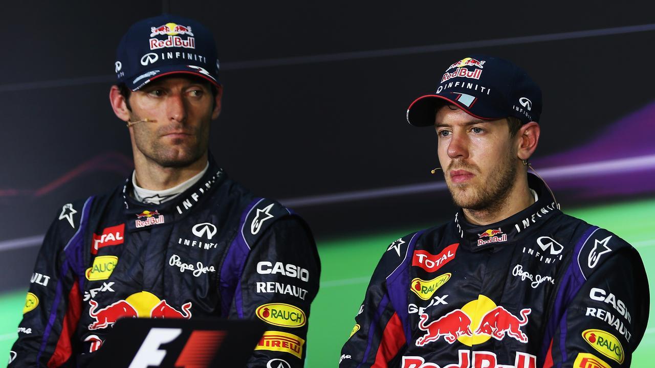 Mark Webber eyeballs race winner Sebastian Vettel after their Sepang controversy.