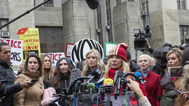 Rosanna Arquette, who has accused Weinstein of threatening her career after she refused his advances, speaks to the media with other accusers outside the court on January 6, 2020 in New York City. Picture: Kena Betancur/Getty Images.