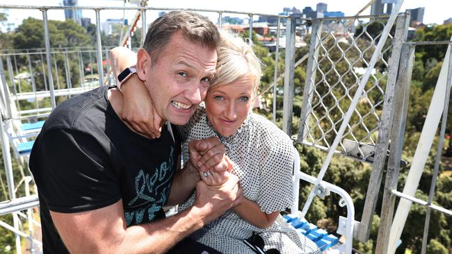 MIX 102.3's brekkie duo Jodie and Soda are attempting to break the Guinness World Record for riding a fairground park attraction. Picture: Dean Martin