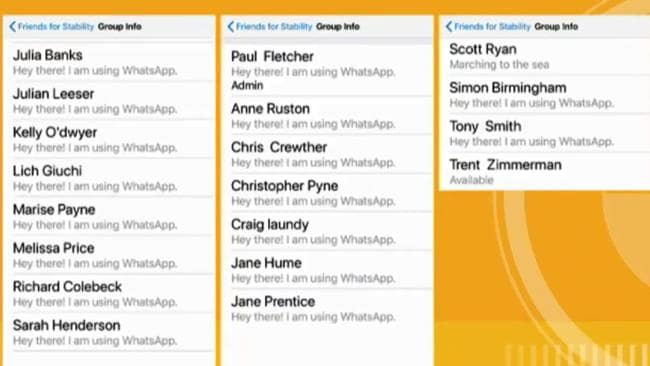 The ABC also broadcast the names of MPs subscribed to the WhatsApp group. Picture: ABC