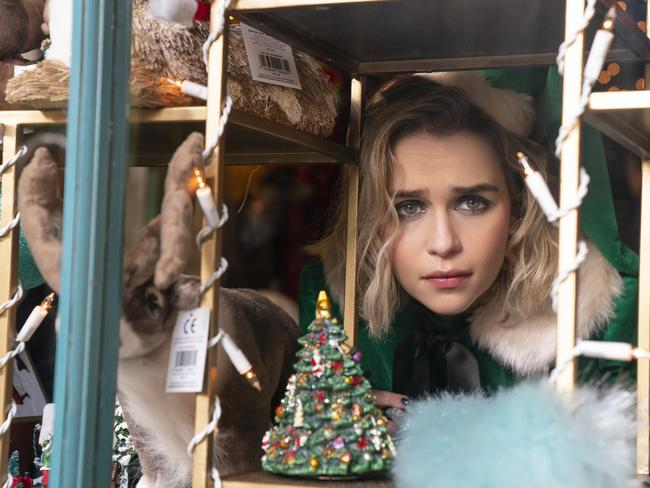 Emilia Clarke as Kate, a would-be singer, in a scene from Last Christmas.