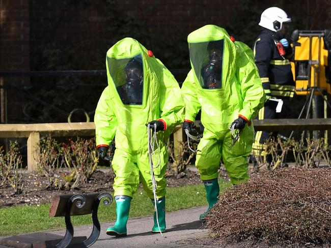 Emergency services at the scene of a Novichok attack in the English town of Salisbury. Picture: AFP