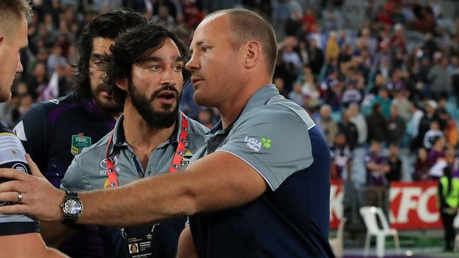 Johnathan Thurston and Matt Scott react to losing the NRL grand final.