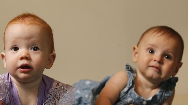 Abigail Lamont and Annabelle Mengel are likely to inhale more dirt and bacteria than adults. Picture: Josh Woning/AAP