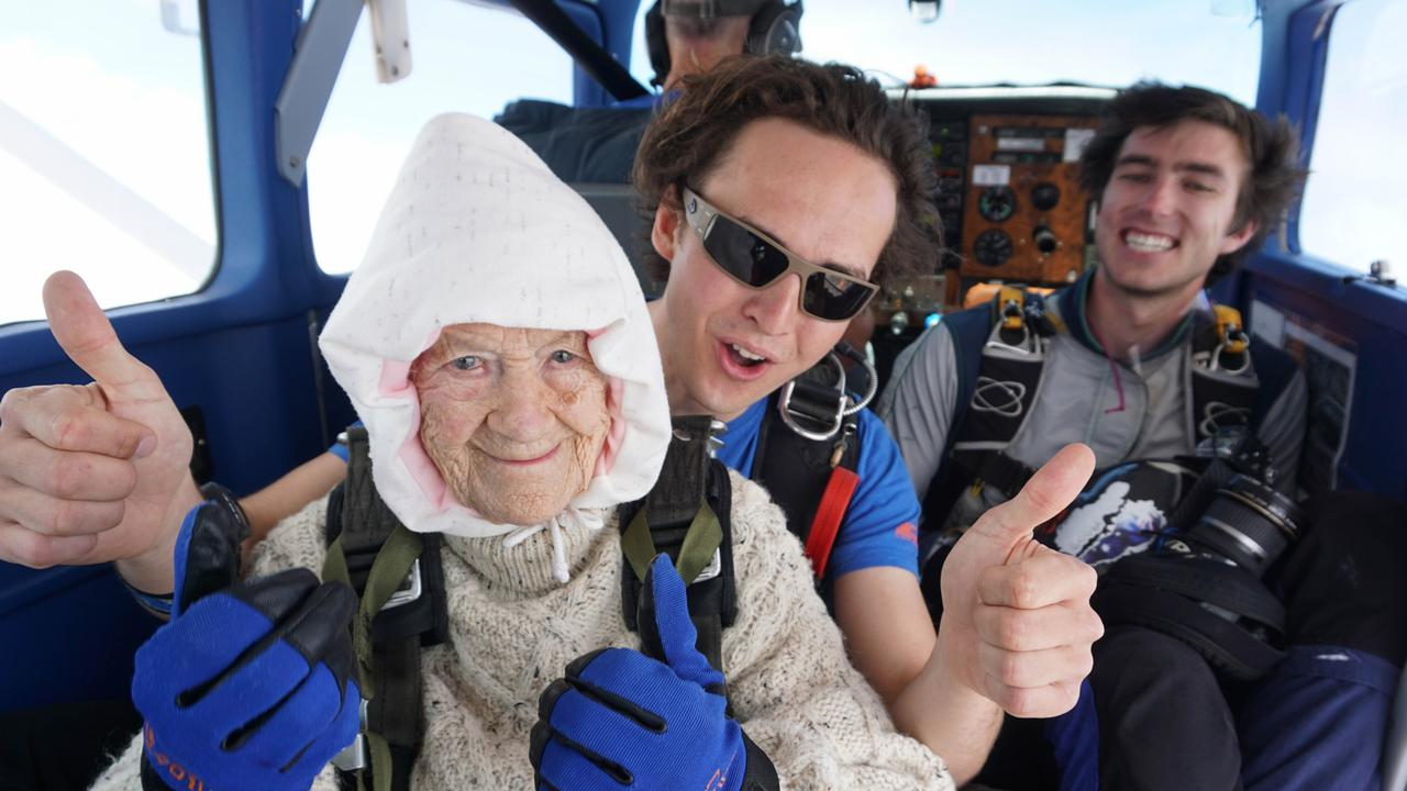 'At 102, Adelaide's Irene O'Shea is the oldest person ever to jump off a plane. Picture: Bryce Sellick and Matt Teager