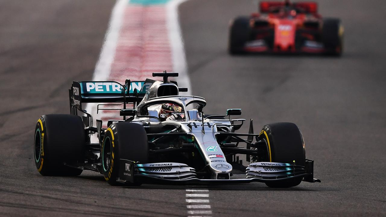Hamilton leads Leclerc early in the race.