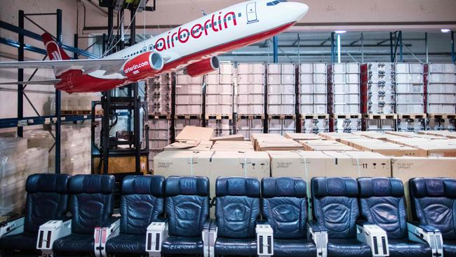 In the market for new furniture? These Air Berlin cabin seats are up for bidding. Picture: AFP/dpa/Marcel Kusch