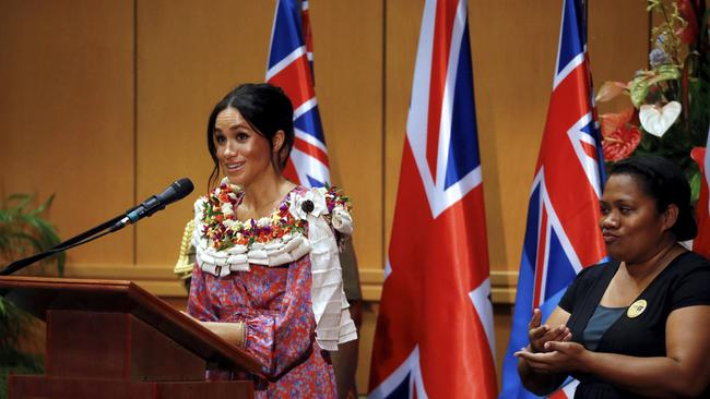 Meghan, Duchess of Sussex delivers a speech at the University of the South Pacific in Suva, Fiji.