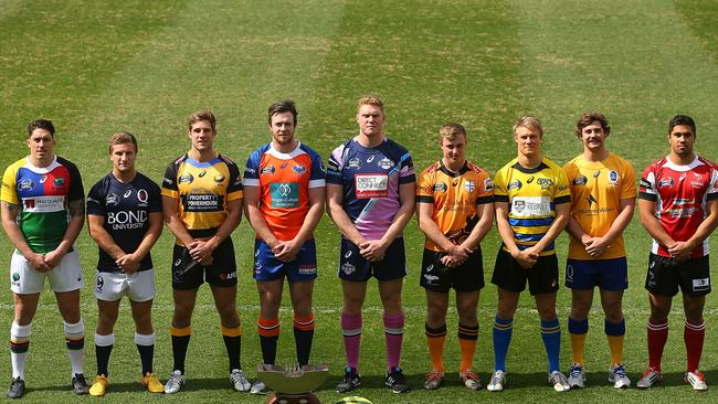Players pose during the 2015 NRC media launch at Ballymore.