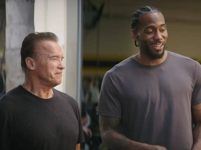 Kawhi Leonard and Arnold Schwarzenegger in the promotional clip for Terminator; Dark Fate.