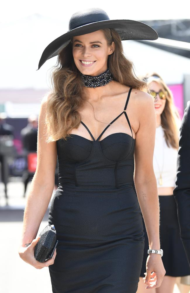 Robyn Lawley is seen at the Birdcage on Derby Day. Picture: AAP