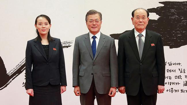 Kim Yo Jong (left) has held senior positions within the regimen for the past six years. / AFP PHOTO / KCNA VIA KNS / STR