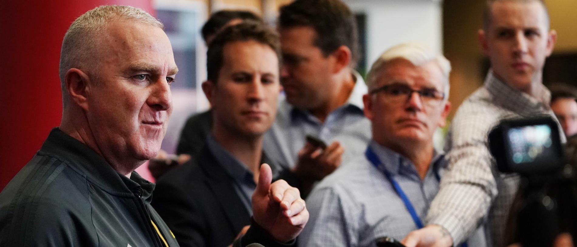 Hawthorn Hawks list manager Graham Wright speaks to media during the opening day of the AFL trade period as club representatives begin trade discussions in Melbourne, Monday, October 7, 2019. (AAP Image/Michael Dodge) NO ARCHIVING
