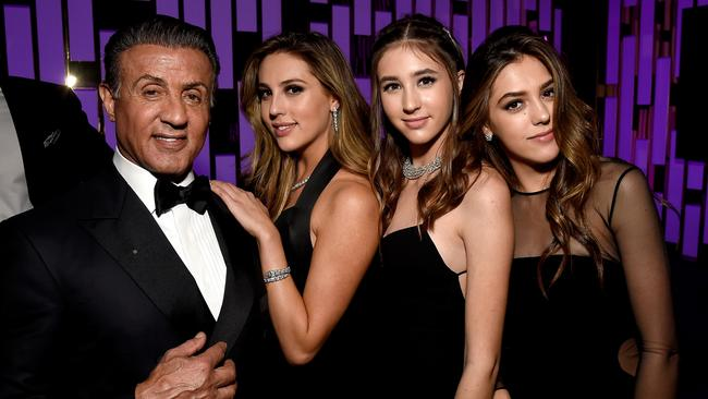 Sylvester Stallone and daughters Scarlet Rose Stallone, Sophia Rose Stallone and Sistine Rose Stallone.