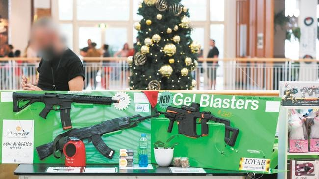 Gel blasters toy guns at an Australian shopping centre. Picture: Brendan Radke