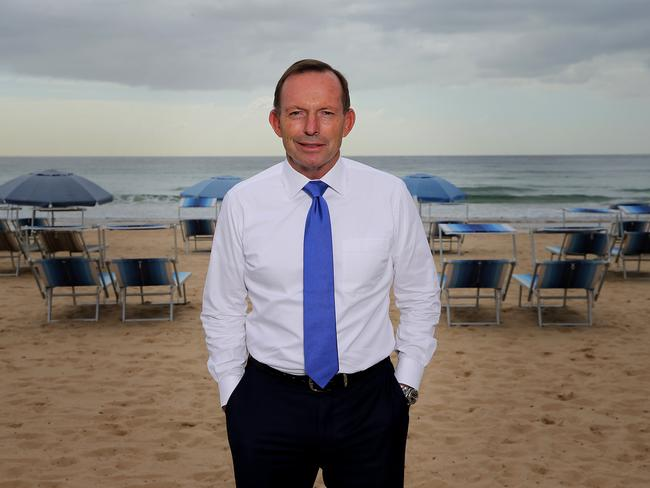Tony Abbott at Manly Beach. Picture: Jane Dempster