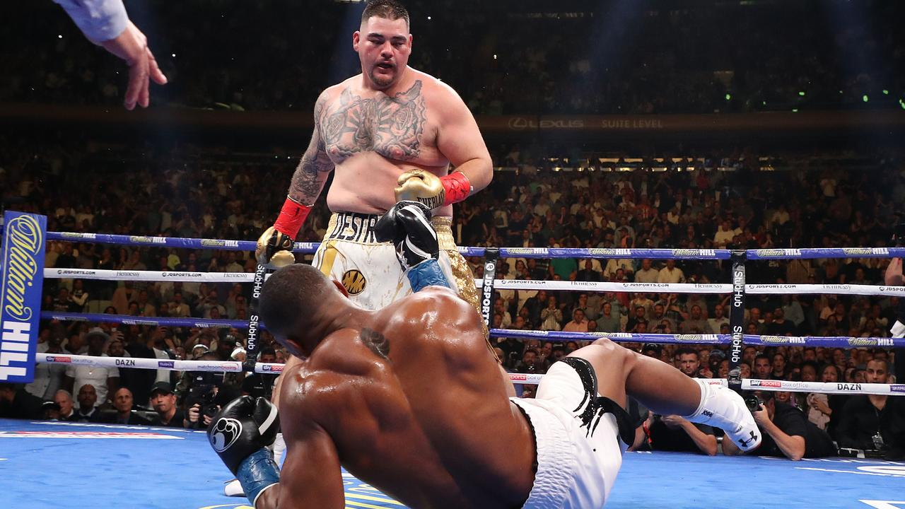 ba744846875 Andy Ruiz Jr knocks down Anthony Joshua at Madison Square Garden last  Sunday. Picture: