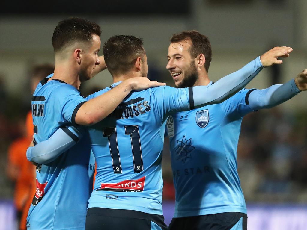 Adam Le Fondre of Sydney FC celebrates a goal during the Round 9 A-League match between Sydney FC and Brisbane Roar at Netstrata Jubilee Stadium in Sydney, Saturday, December 7, 2019. (AAP Image/Jeremy Ng) NO ARCHIVING, EDITORIAL USE ONLY