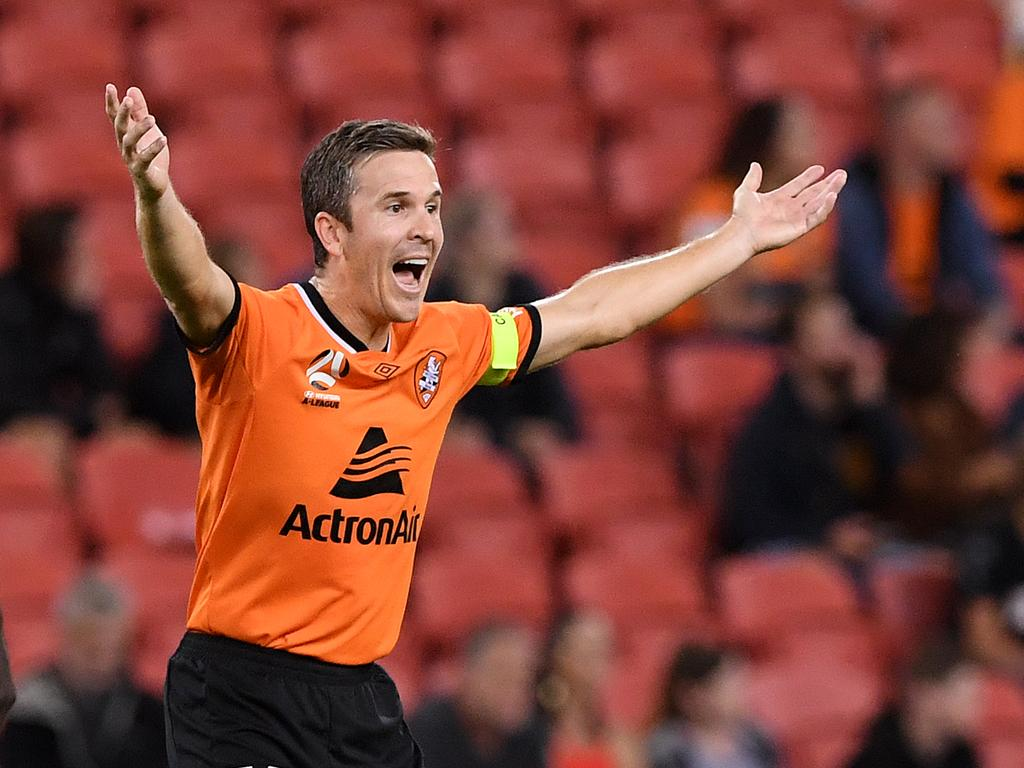 Matt McKay of the Roar reacts during the Round 26 A-League match between the Brisbane Roar and the Newcastle Jets at Suncorp Stadium in Brisbane, Saturday, April 20, 2019.  (AAP Image/Dave Hunt) NO ARCHIVING, EDITORIAL USE ONLY