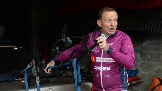 Tony Abbott at his home in Sydney this morning after losing his seat of Warringah. Picture: Jeremy Piper