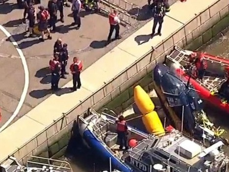 A helicopter has crashed into the Hudson River in New York. Picture: Supplied