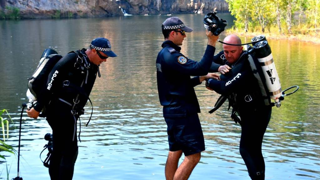 """969dca91d8 NT Police divers get suited up before their at Edith Falls Picture  NT  Police. """""""