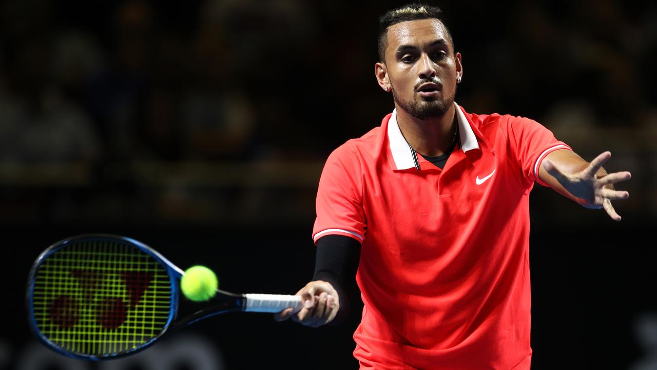 Nick Kyrgios defeated Rafael Nadal at the Fast4 in Sydney. (Photo by Brendon Thorne/Getty Images)
