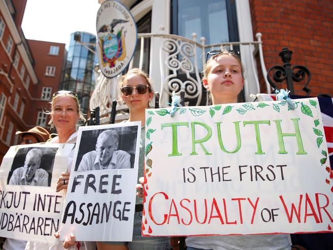 Pro-Assange demonstrators in London in May. The Wikileaks boss is getting a lot of love on Twitter, too. Picture: Picture: AFP/Isabel Infantes