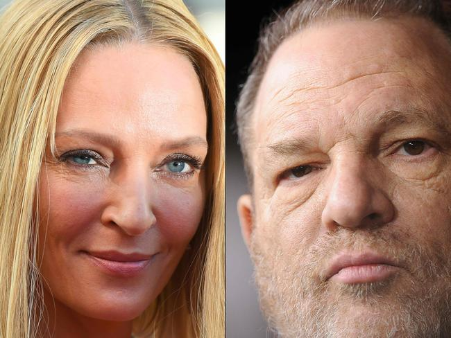 Actor Uma Thurman, who is indelibly linked to Harvey Weinstein's Miramax studio, has broken her silence about the disgraced Hollywood mogul, accusing him of attacking her and threatening her career. Picture: AFP/Anne-Christine Poujoulat and Robyn Beck