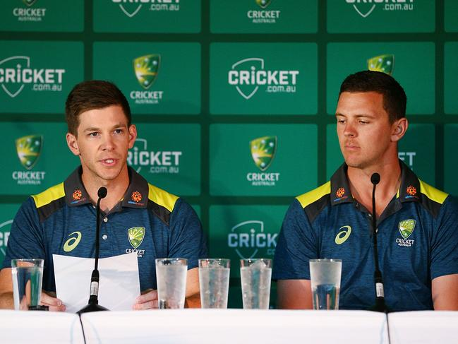 Tim Paine and Josh Hazlewood were left to bit the bullet.