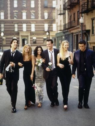 Matthew Perry as Chandler Bing along with his Friends co-stars: David Schwimmer as Ross Geller, Jennifer Aniston as Rachel Green, Courteney Cox as Monica Geller, Lisa Kudrow as Phoebe Buffay, Matt LeBlanc as Joey Tribbiani (Photo by: NBC/NBCU Photo Bank via Getty Images)
