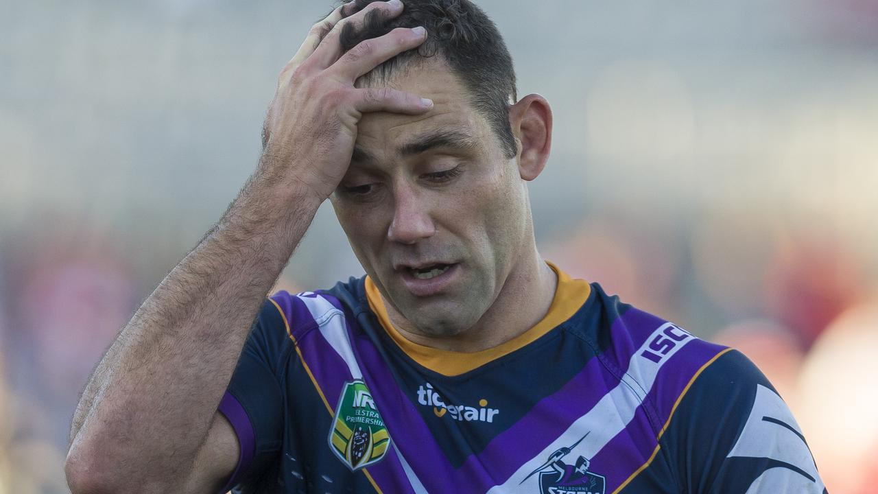 Cameron Smith reacts to the Storm's loss to the Dragons.