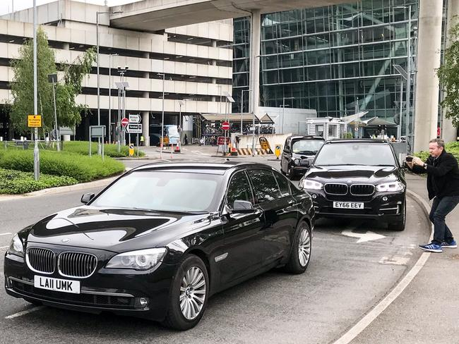 VIP cars are pictured exiting Heathrow Airport. Picture: Flynet/Splash News