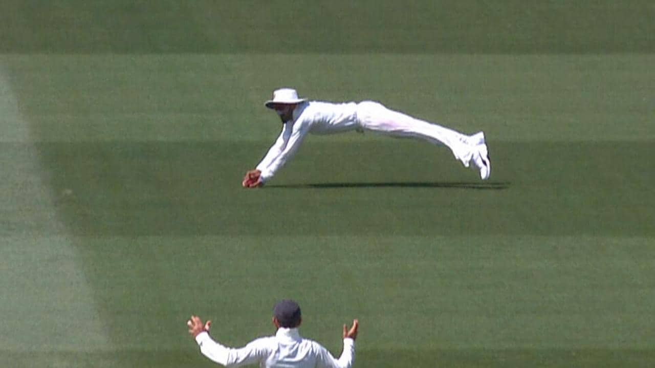 Lokesh Rahul saw the ball fall just short of what would have been a brilliant catch. .