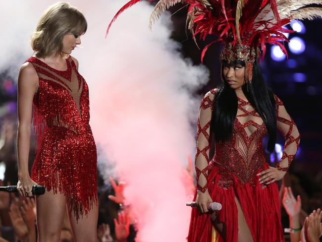 Now friends? ... Taylor Swift, left, and Nicki Minaj perform at the MTV Video Music Awards. Picture: AP