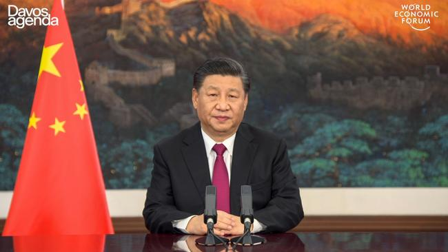 Xi Jinping opens the all-virtual World Economic Forum. Picture: AFP