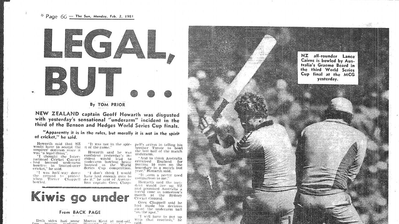 Page from 'The Sun' newspaper. February 2, 1981. Underarm. Trevor Chappell. MCG. Under arm. 1981.