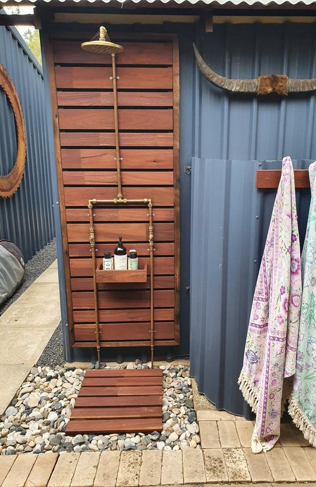 But she said he did one better, using Bunnings materials, to create her dream outdoor shower. Picture:Facebook/BunningsMumsInspirationHacksTipsAndTricks